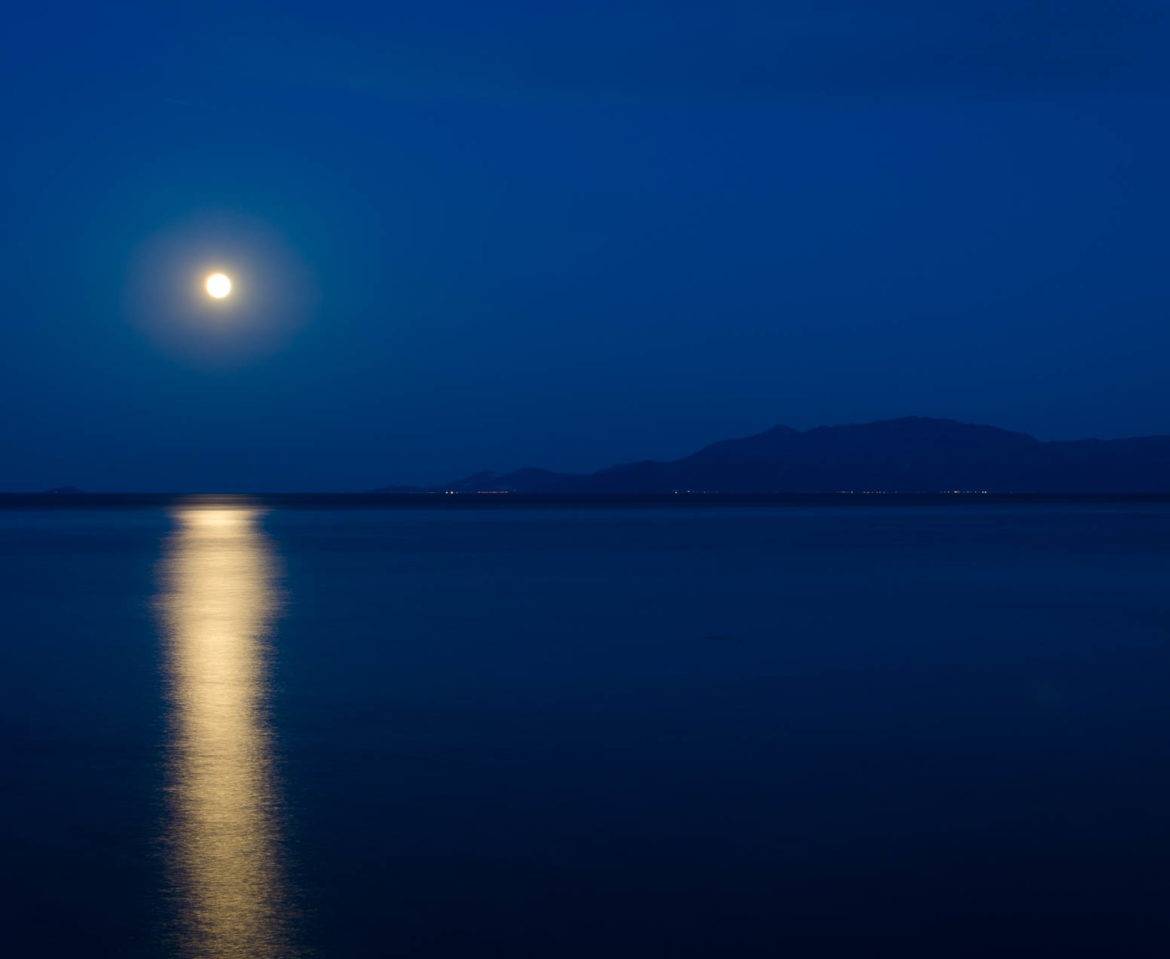 Full moon over Thasos island