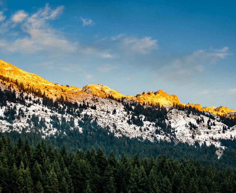 Golden light on Koziakas mountain