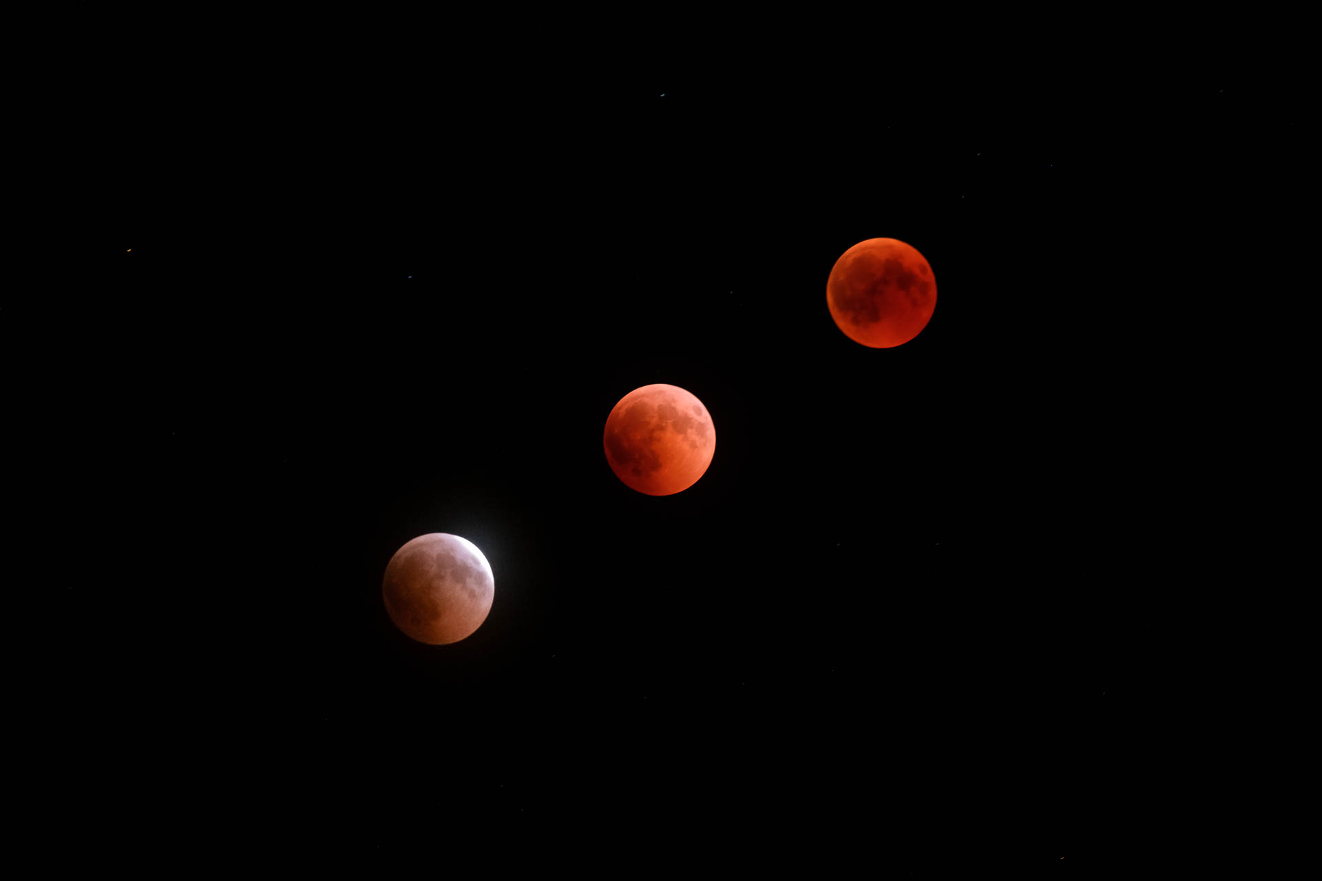 Lunar eclipse. Path to totality.