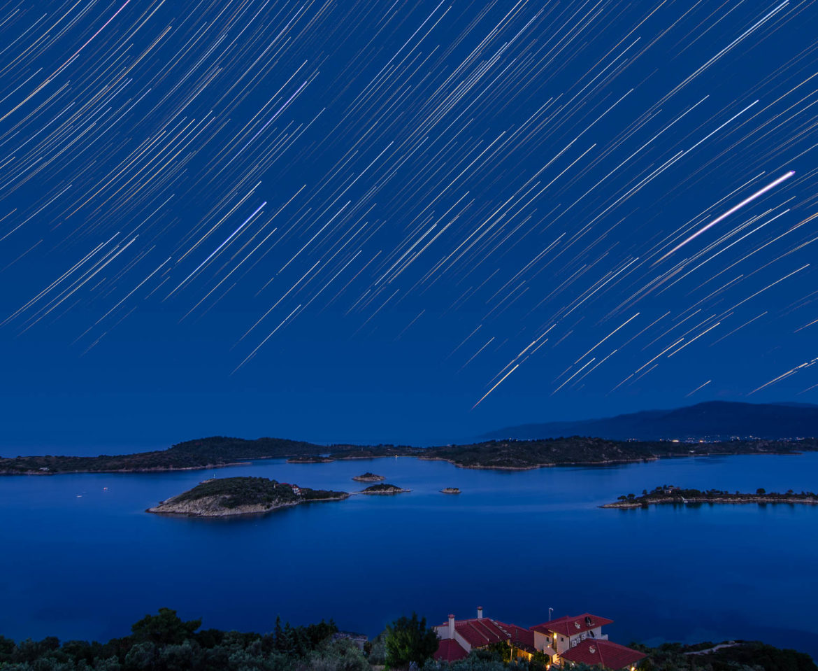 Star trails over Vourvourou