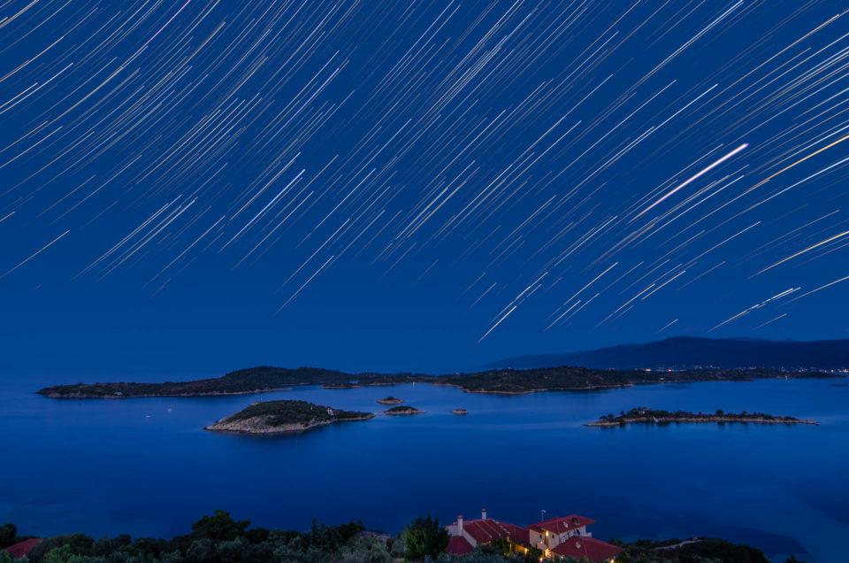 Star trails over Vourvourou