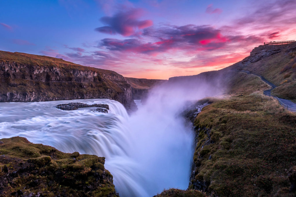 Sunset at Gullfoss waterfall in Iceland