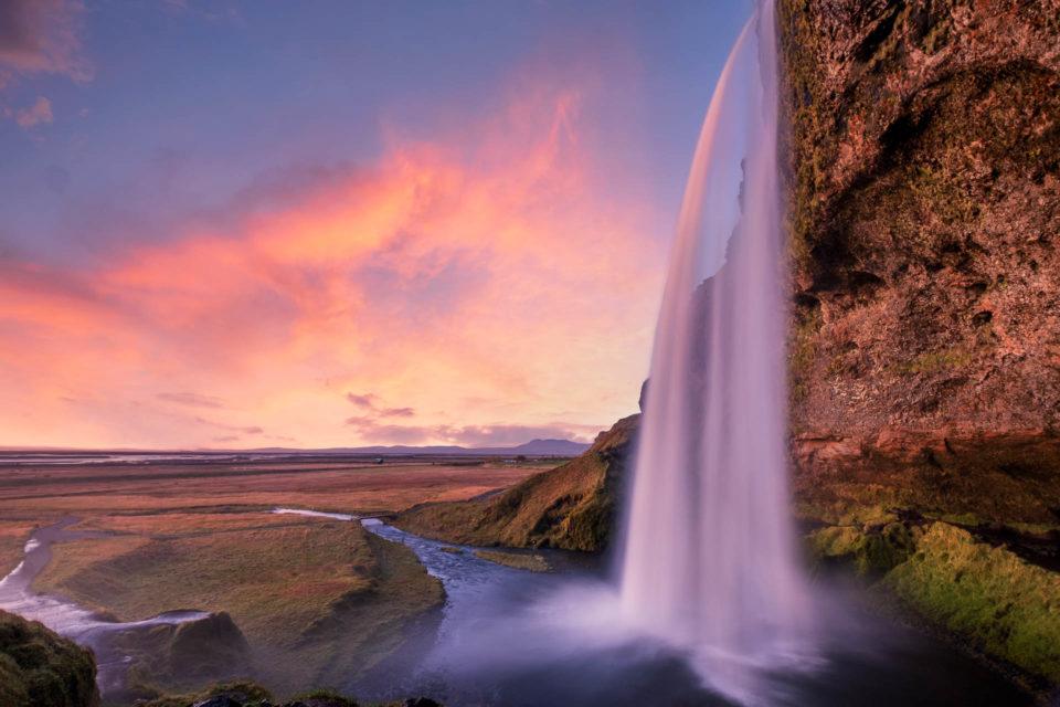 Long exposure of Seljalandsfoss waterfall in Iceland at sunset