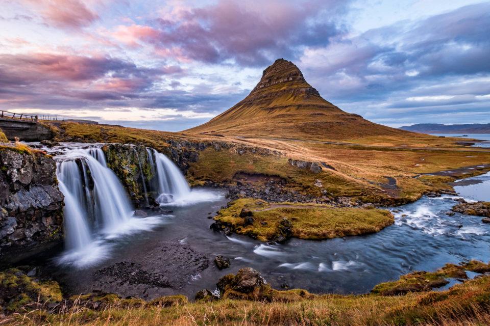 Kirkjufell mountain and Kirkjufellsfoss waterfalls in Iceland