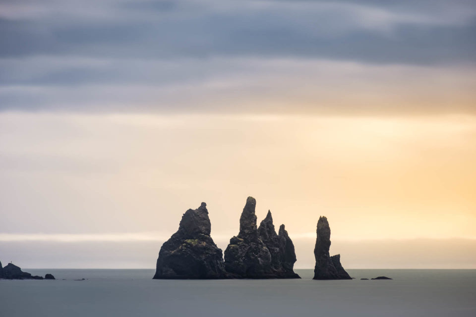 Reynisdrangar basalt sea stacks in Iceland