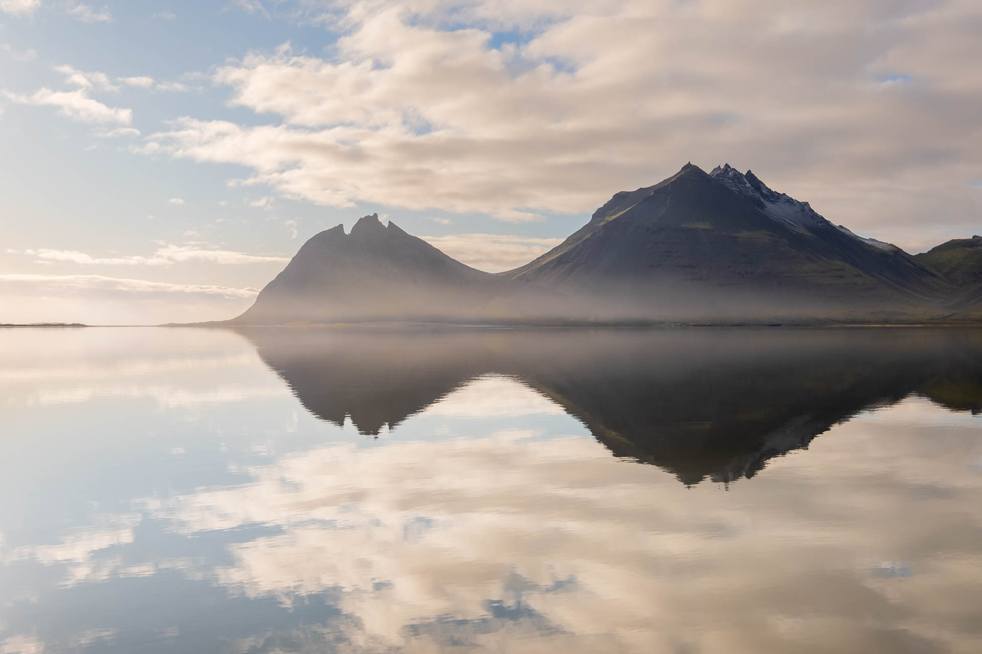 Brunnhotn mountain reflection in Iceland