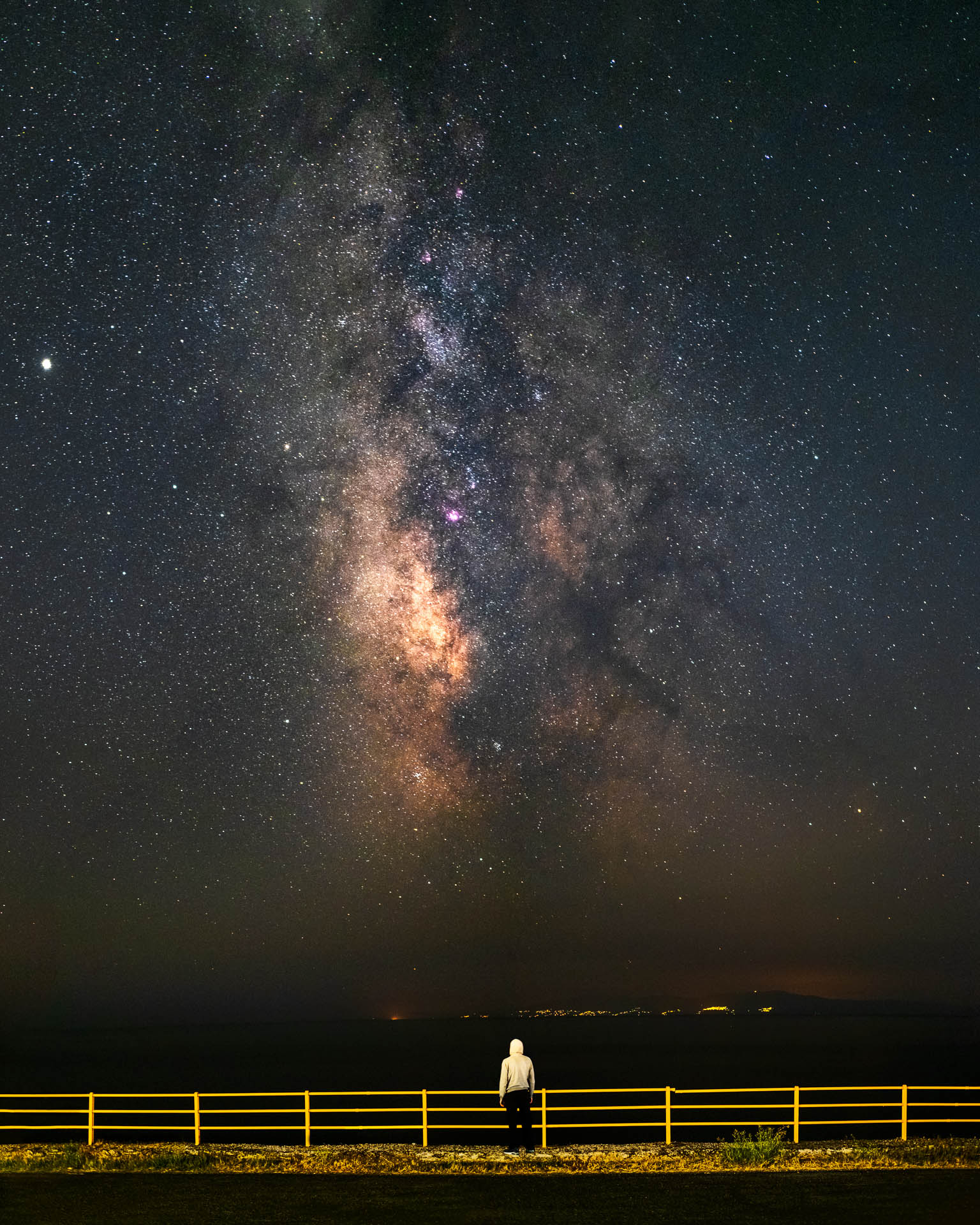 Stargazing the milky way in a starry night