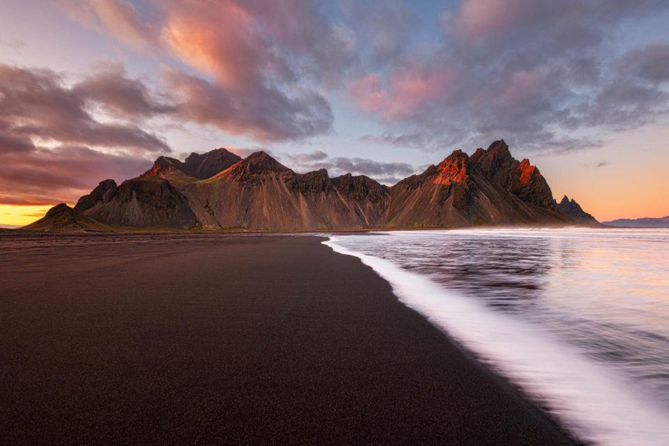 Sunset at Vestrahorn Mountain and Stokksnes Beach in Iceland